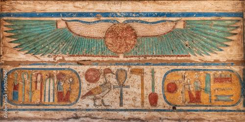 Tuinposter Egypte Madinet Habu temple hieroglyphs in Luxor