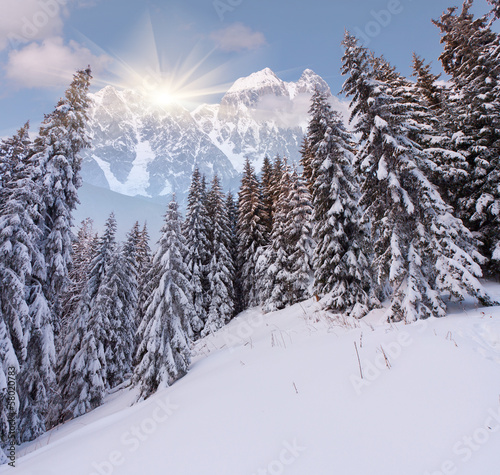 Beautiful winter landscape in the high mountains - Buy this stock