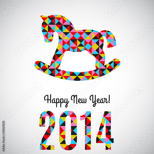 Poster Geometric animals Vector 2014 New Year abstract greeting card