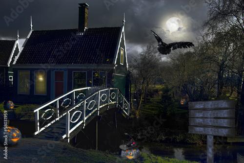 In de dag Volle maan village. Netherlands