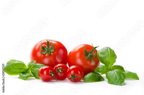 Fotografie, Obraz  5 Tomaten mit Basilikum