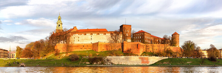 Fototapeta Kraków Panorama of Wawel castle in Krakow, Poland