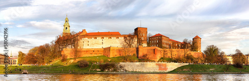 Panorama of Wawel castle in Krakow, Poland #58042916