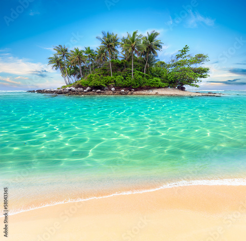 In de dag Eiland Tropical island and sand beach exotic travel background