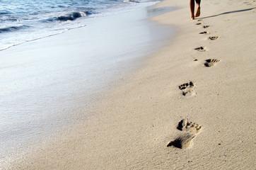 Fototapeta Footprints in beach