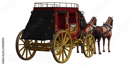 Stagecoach with Horses Canvas-taulu
