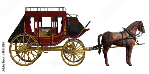 Fotografie, Tablou  Stagecoach with Horses
