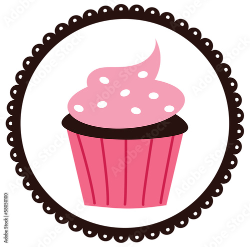 фотография  Cupcake in a Scalloped Circled