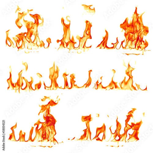 Poster Fire / Flame Fire flames isolated on white background