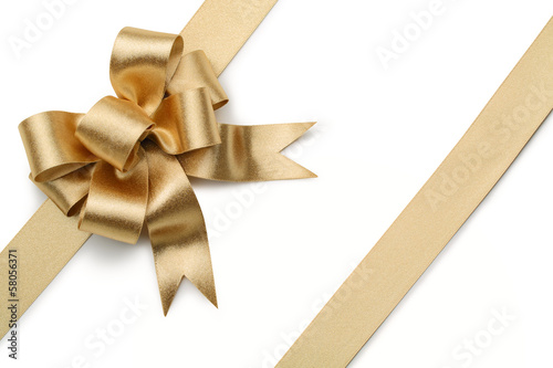 Gold ribbon with bow Wallpaper Mural