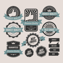 Vintage Labels And Ribbon Retro Style Set