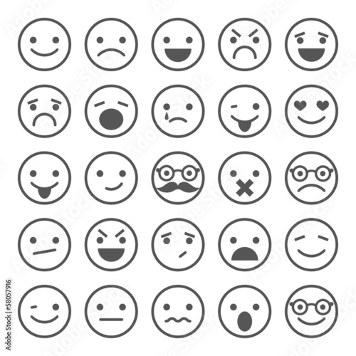 Fotografie, Obraz  Set of smiley icons: different emotions