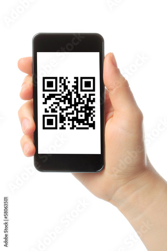 Fotografie, Obraz  Hand holds smart phone with QR code