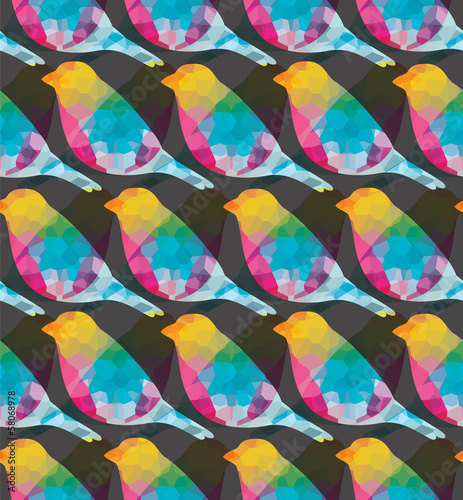 Aufkleber - Seamless pattern with colorful birds