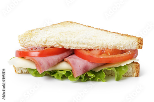 Staande foto Snack triangle sandwich with ham, cheese and vegetables
