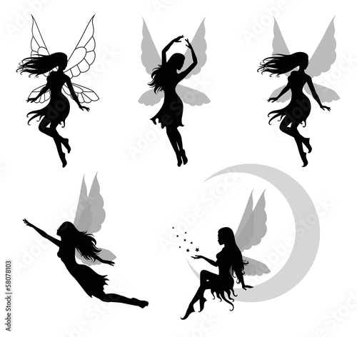 Fotografie, Tablou  Collections of vector silhouettes of a fairy.