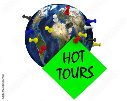 Fényképezés  Горящие туры. Земной шар с канцелярскими кнопками