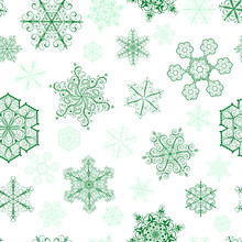 Christmas Seamless Pattern With Green Snowflakes