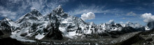 Panorama Mountains Everest And Lhotse