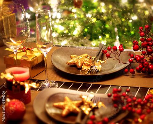 Foto-Doppelrollo - Christmas And New Year Holiday Table Setting. Celebration (von Subbotina Anna)