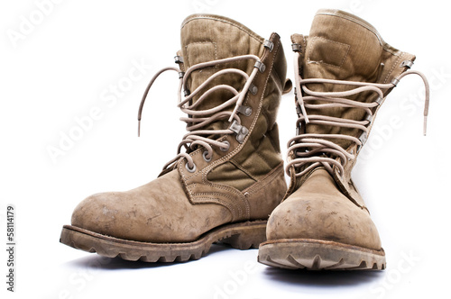 Fotografía  Army boots on white background