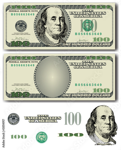 Fotografia  100 Dollar bill  with easy removable elements