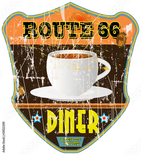 Route 66 vintage diner sign, notalgic grungy style, vector eps