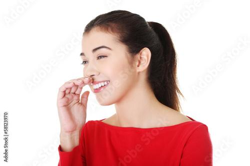 Fotografie, Obraz  Portrait of attractive woman lauging.