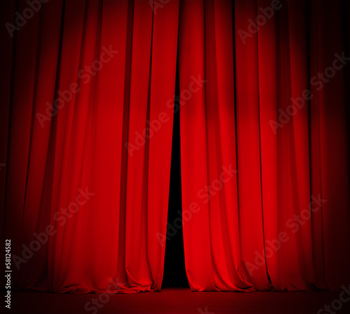 Fotografía  theater stage red curtain with spotlight background
