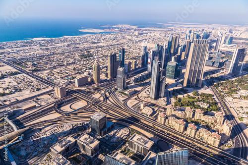 Fotobehang Midden Oosten Dubai downtown. East, United Arab Emirates architecture. Aerial