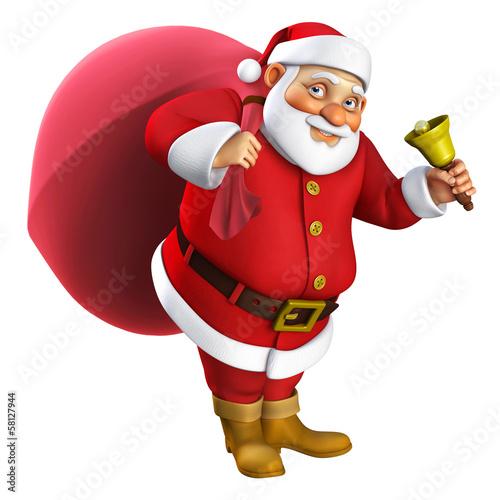 Keuken foto achterwand Sweet Monsters 3d cartoon santa with a bell