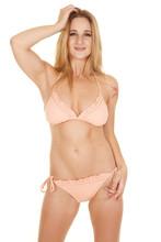 Woman Bikini Ruffles Facing Smile Hand Hair