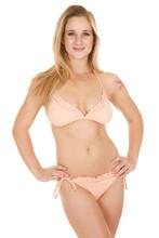Woman Bikini Ruffles Hands Hips Smile