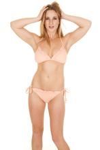 Woman Bikini Ruffles Hands In Hair