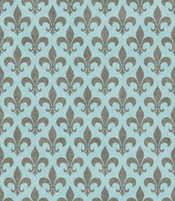 Teal And Gray Fleur De Lis Tex...