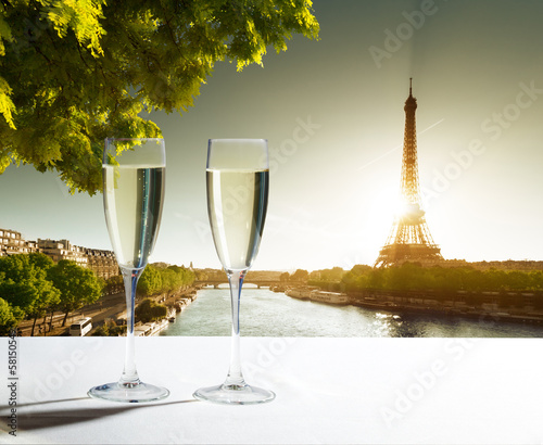 champaign Glasses and  Eiffel tower in Paris Canvas Print
