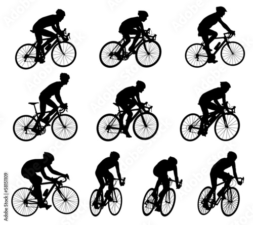 10 high quality race bicyclists silhouettes - vector Wall mural