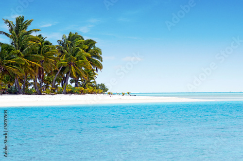 Wall Murals Central America Country Landscape of One foot Island in Aitutaki Lagoon Cook Islands
