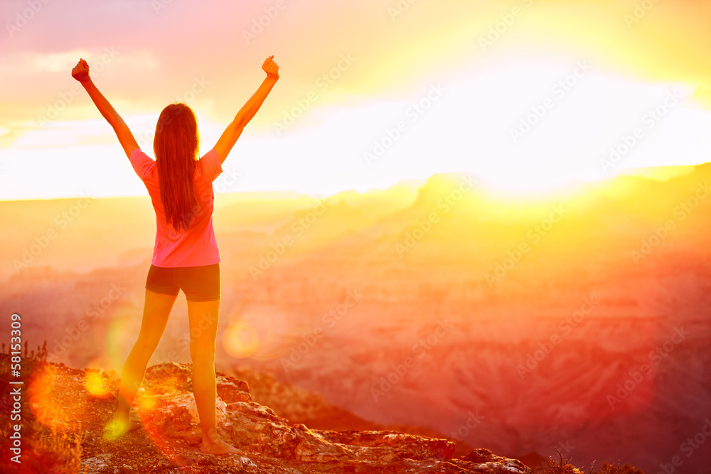 Fototapeta Freedom and adventure - woman happy, Grand Canyon