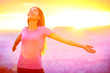 canvas print picture - Happy people - free woman enjoying nature sunset