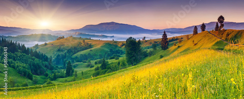 Poster Meloen mountains landscape