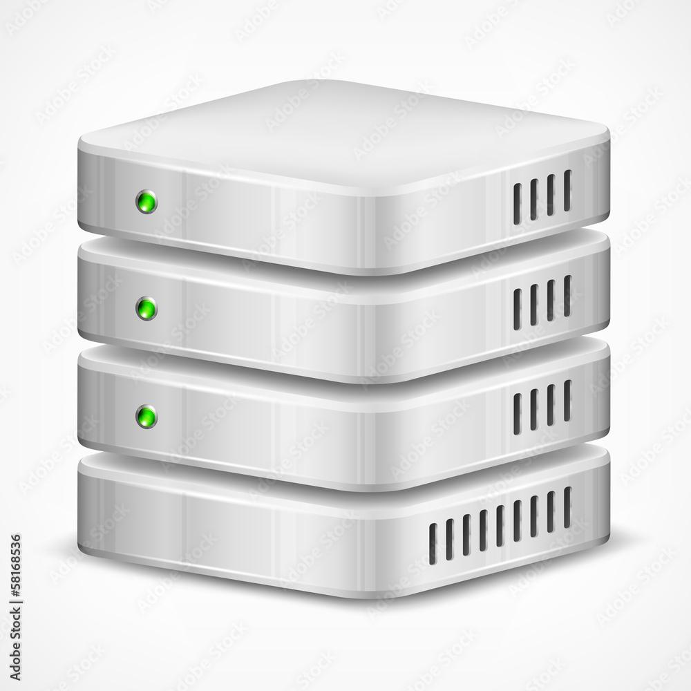 Fototapeta Database, computer hard disk isolated on white, vector