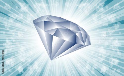 diament i niebieskie tło