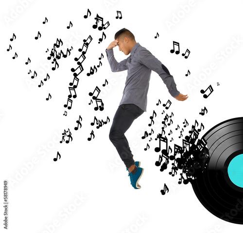 Fotografía moonwalking dance in musical background