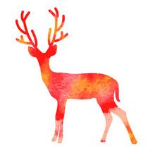 Vector Watercolor Deer With Ho...