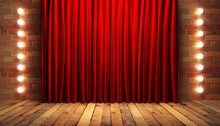 Red Fabrick Curtain On Stage