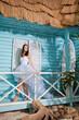 bride in a wedding dress on the seashore