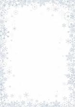 Snowflakes On White Background Vector Frame