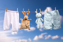 Baby Is Born.. Boy Or A Girl On The Outdoor Clothesline
