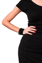 Woman Dressed With Black  Dress Standing Confident With Hand On